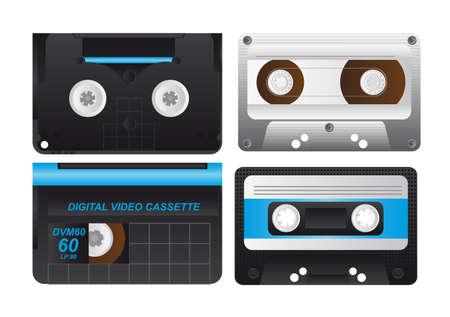 tape cassette: four cassette isolated over white background. illustration Illustration