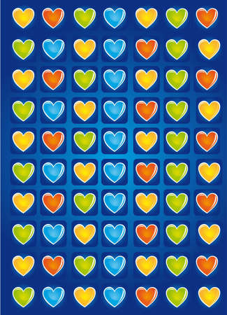 cute hearts over blue background. illustration Stock Vector - 12492298