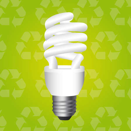bulb electric over recycle background. illustration Stock Vector - 12492290