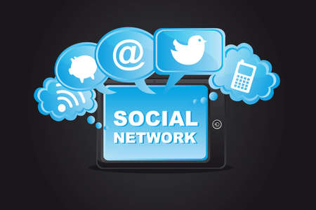 social network icons with tablet over black background. Vector
