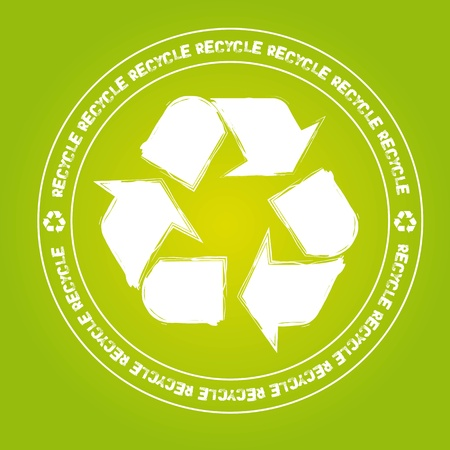 recycle sign stamp over green background. illustration