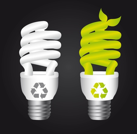 bulb electric with recycle  sign over black background.  Vector