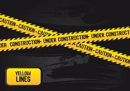 cautious: l�neas amarillas con el texto en la construcci�n, grunge.