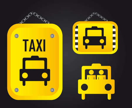 transported: yellow taxi sign over black background. illustration