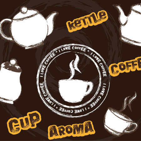 cute coffee cup with kettle and stamp background.  Illustration