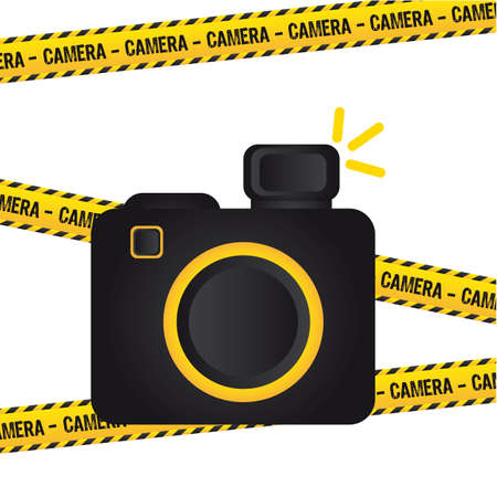 digicam: camera sign with yellow lines background. illustration Illustration