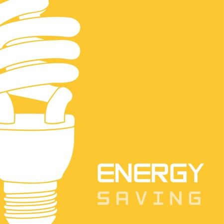 노란색 배경, 에너지 절약에 전구 전기.