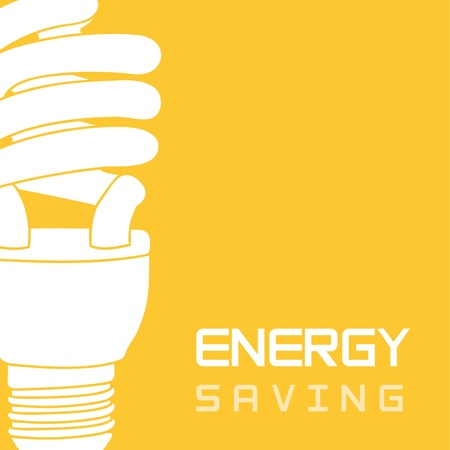 risparmio energetico: lampadina elettrica su sfondo giallo, il risparmio energetico.