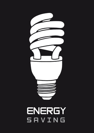 black and white bulb electric, energy saving. illustration Vector