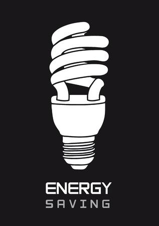 thrift: blanco y negro bombilla el�ctrica, el ahorro de energ�a. ilustraci�n Vectores
