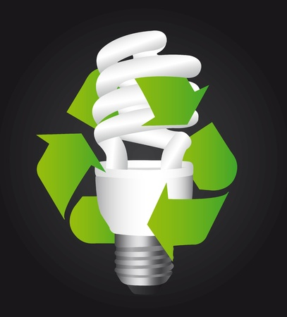 kilowatt: bulb electric with recycle sign over black background.  Illustration