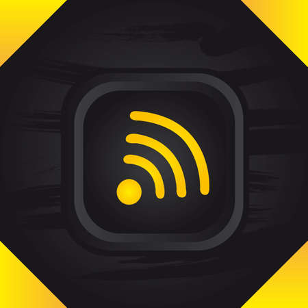 syndicated: yellow ress over black buttons background. illustration Illustration