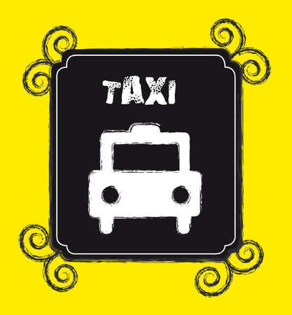transported: grunge taxi stamp over yellow background.  illustration Illustration