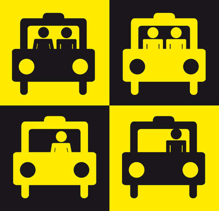 transported: yellow and black taxi sign with people background. Illustration