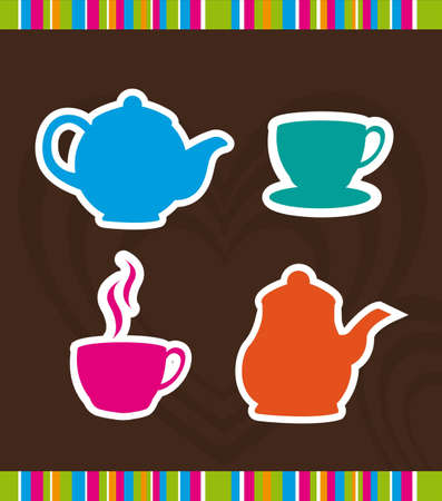kettle and coffee cup over brown background. Vector