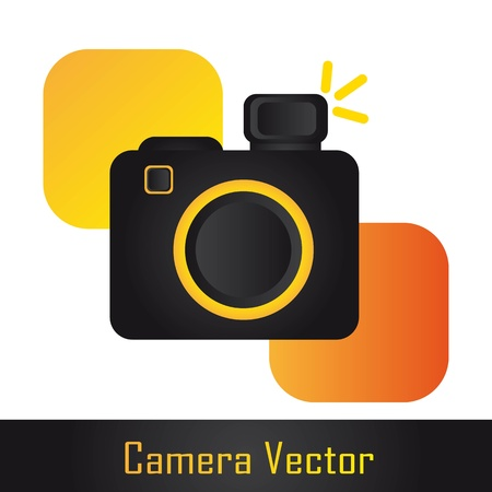 digicam: camera with square over white background. illustration