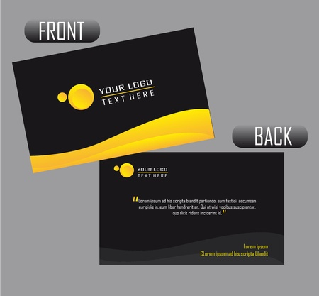 black and yellow presentation card over gray background.  Ilustração