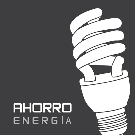 ahorro energia: bombilla el�ctrica sobre el ahorro de energ�a fondo gris, en espa�ol.