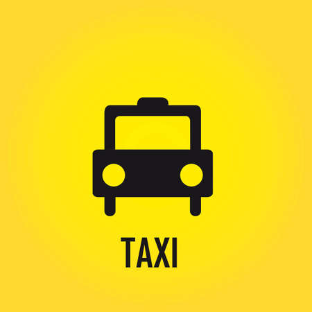 transported: black taxi sign over yellow background. illustration