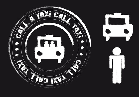 transported: black and white taxi grunge stamp isolated. illustration