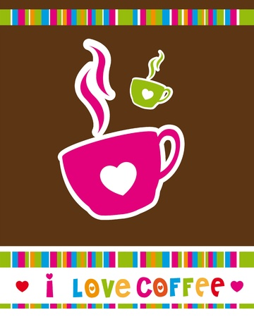 cute coffee cup over brown background, i love coffee.  Vector