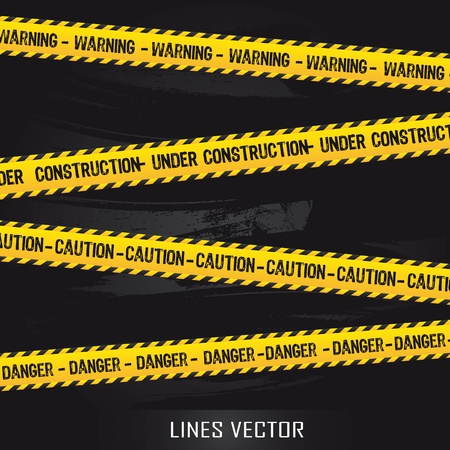 warning signs: yellow lines over black background. illustration