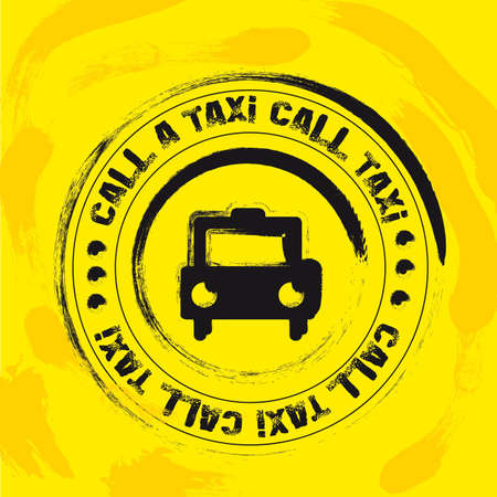 transported: black taxi stamp over yellow background. illustration