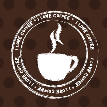 coffee cup stamp over brown background. illustration Vector