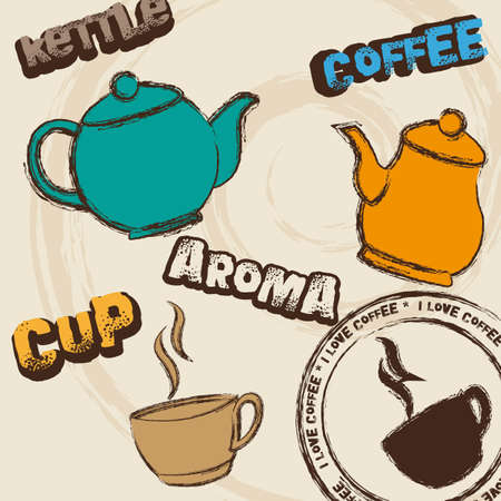 cute kettle and coffee cup background. illustration