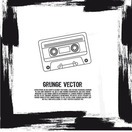 grunge silhouette cassette background. illustration Vector