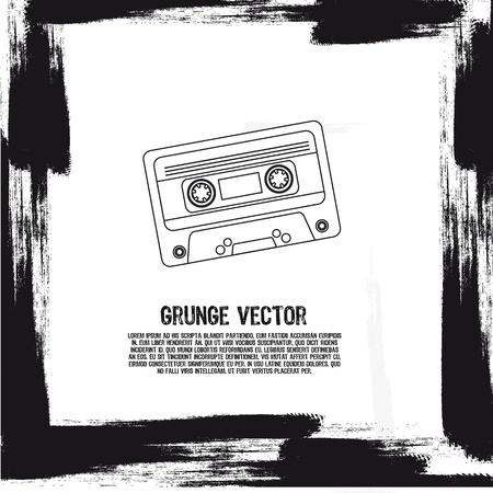 grunge silhouette cassette background. illustration Vector
