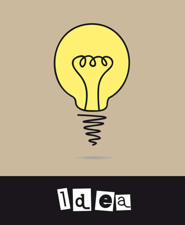 bulb electric drawing with idea text background. Stock Vector - 12492577