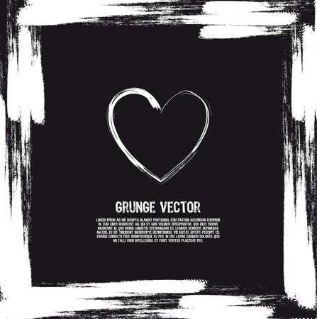 black and white heart grunge card. illustration Stock Vector - 12493235