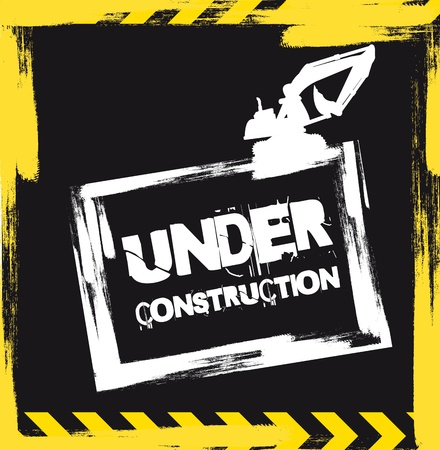 under construction with machine background.  Vector