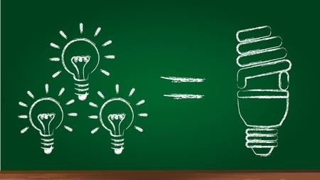 eficiencia: bombilla eléctrica en la pizarra, el ahorro de energía. ilustración