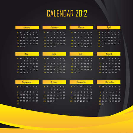 black and yellow calendar 2012 background. illustration Vector