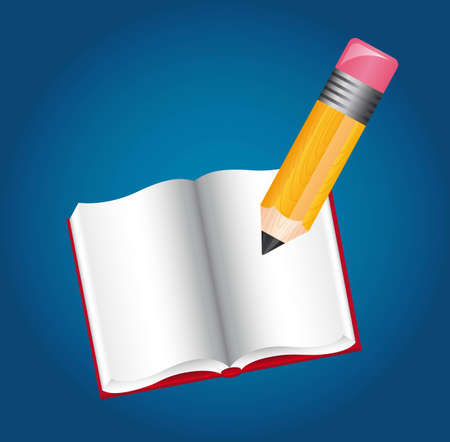 pencil and book over blue background. illustration Vector