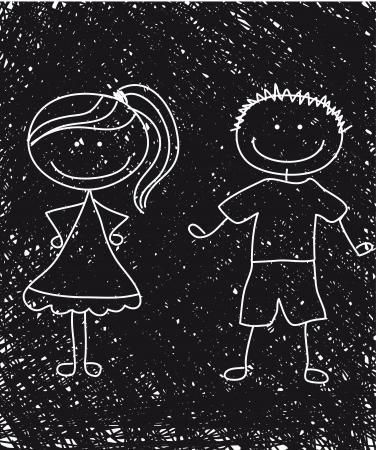 teenage couple: black and white boy and girl sketch. illustration Illustration