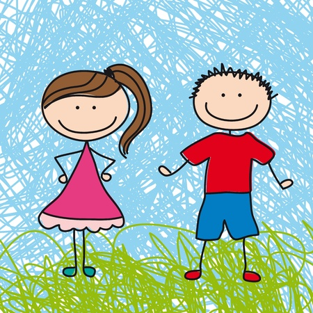 teenagers laughing: cute boy and girl sketch background. illustration