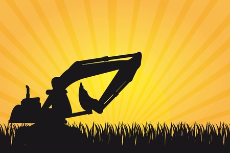 quarry: silhouette machine construction and grass over yellow background.
