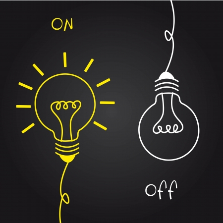 idea cartoon: on and off bulb electric over black background.
