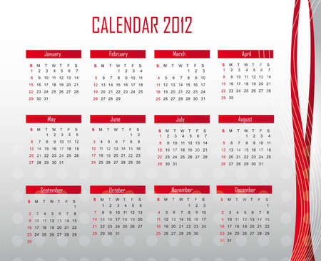 red and silver calendar 2012 background. illustration Vector