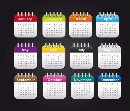 months calendar over black background. illustration Vector