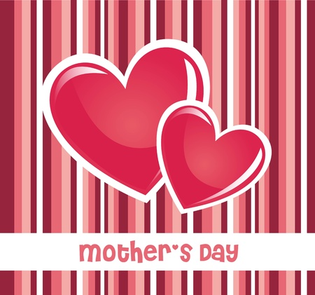 Mothers day: pink mothers day card with hearts and stripes. illustration