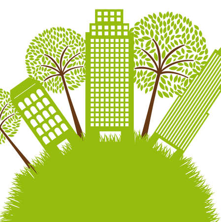 green buildings with tree over grass. illustration Vector