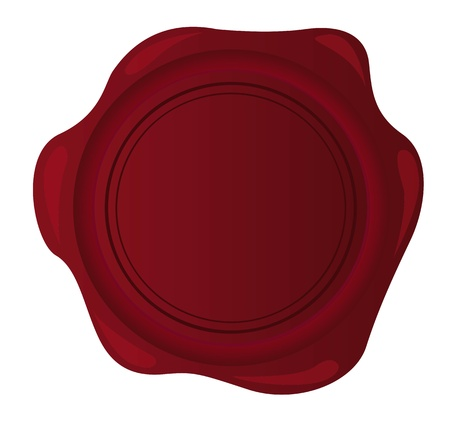 credentials: red blank wax seal isolated over white background.