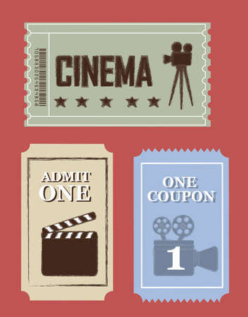 tickets: grunge cinema tickets over red background. illustration Illustration