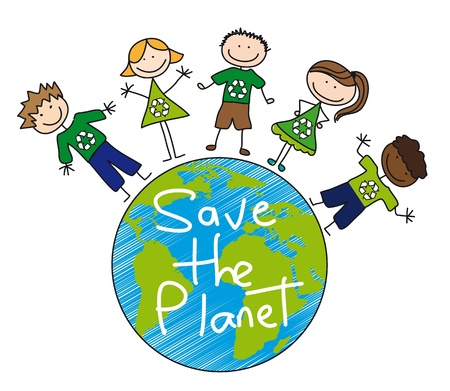 reciclar: children all over planet over white background, recycle.