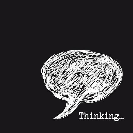zwart wit tekening: gedachte bel tekening geà ¯ soleerd op zwarte achtergrond, het denken.
