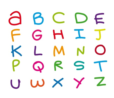 primary: colors alphabet drawing isolated over white background.